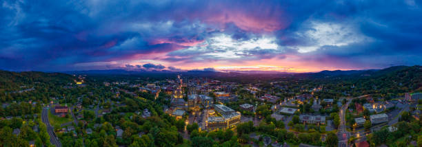Asheville North Carolina Aerial view at sunset stock photo