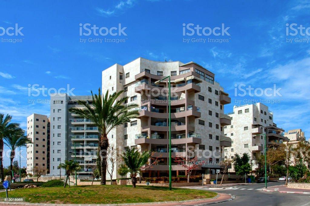 Ashkelon on summer street with palm trees stock photo