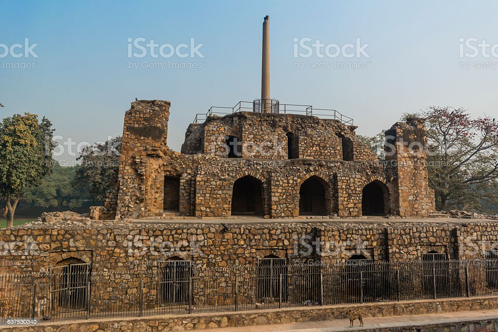Ashoka pillar on pyramidal structure and a dog stock photo