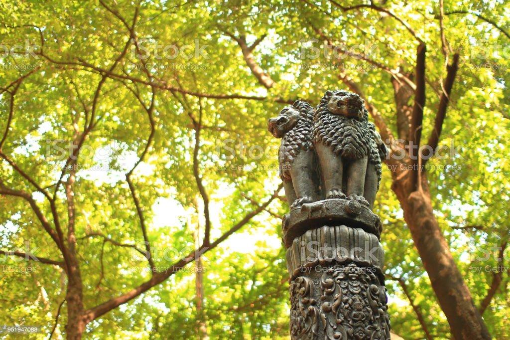 Ashoka Pillar Symbol Of Buddhism Iron Casted Three Lion Statues On