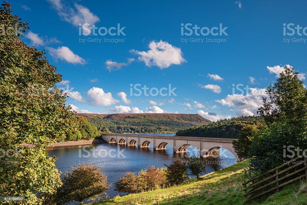 Ashopton Viaduct above Ladybower Reservoir stock photo