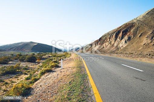Ashplat road running through the steppe - landscape photo