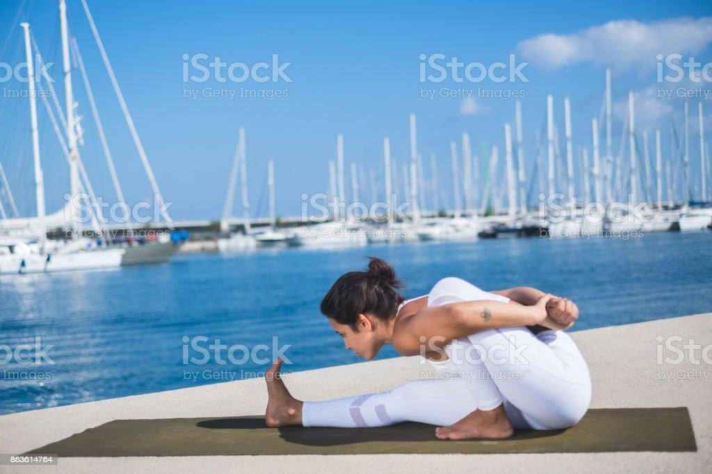 Ashtanga Yoga Marichyasana stock photo