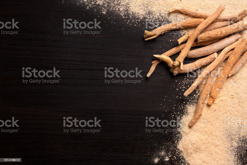 Ashwagandha background with copy space from above. stock photo