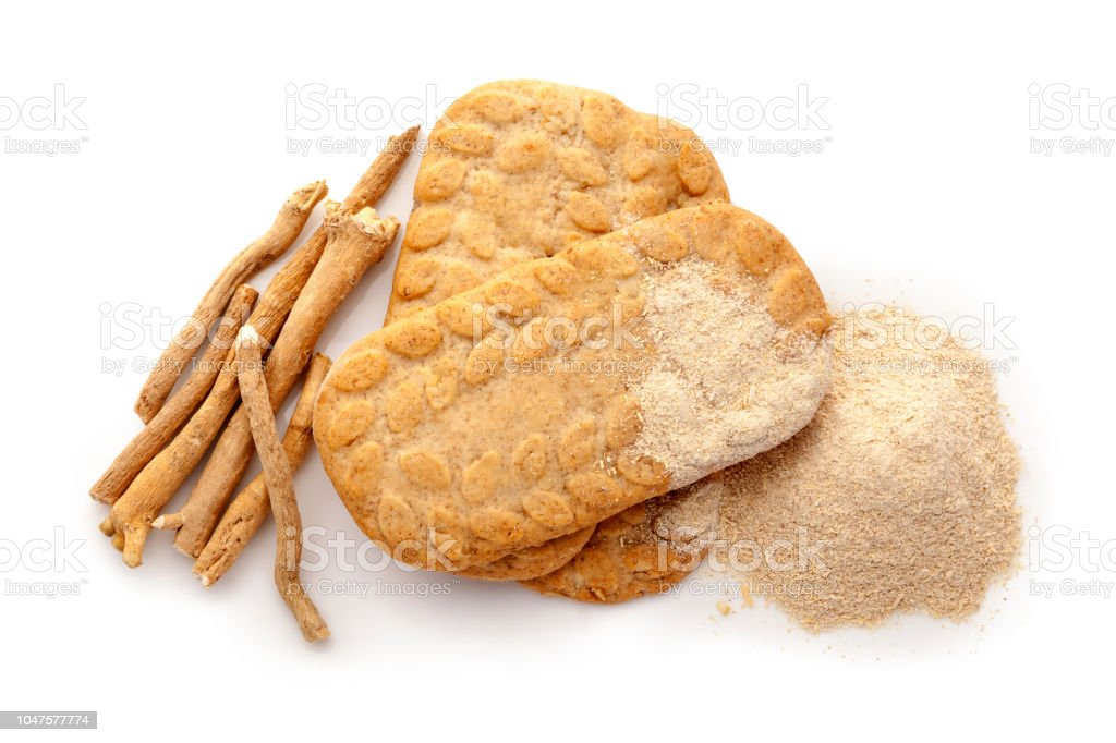 Ashwagandha cookies with roots and powder stock photo