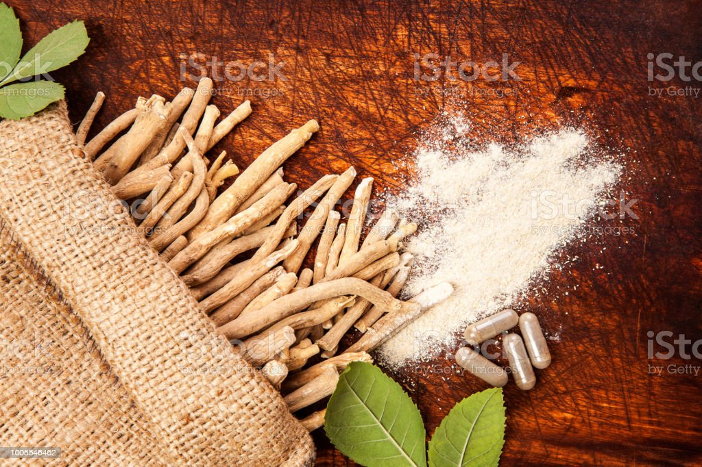 Ashwagandha medicine from above. stock photo