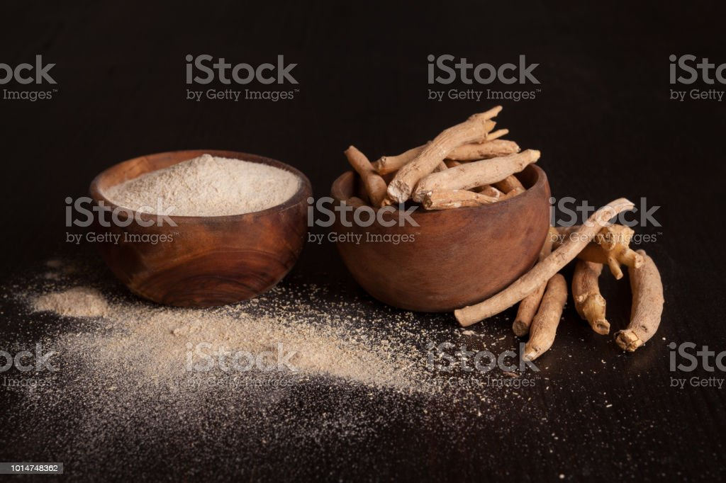 Ashwagandha supplement. Ayurvedic medicine. stock photo