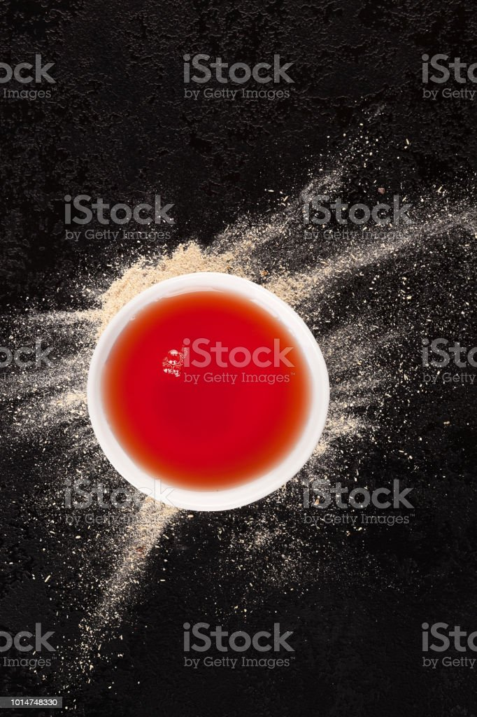 Ashwagandha supplement in juice. stock photo