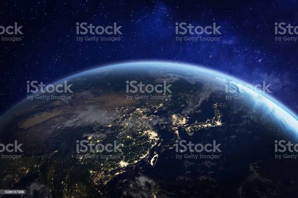 Asia at night from space with city lights showing human activity in China, Japan, South Korea, Taiwan and other countries, 3d rendering of planet Earth, elements from NASA stock photo