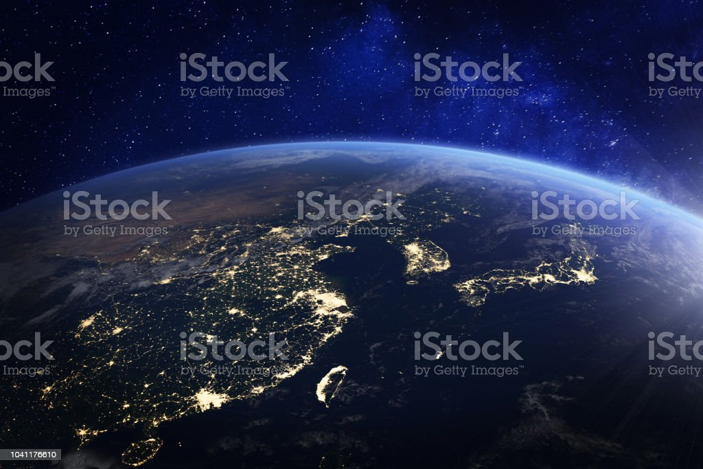 Asia at night from space with city lights showing human activity in China, Japan, South Korea, Hong Kong, Taiwan and other countries, 3d rendering of planet Earth, elements from NASA stock photo