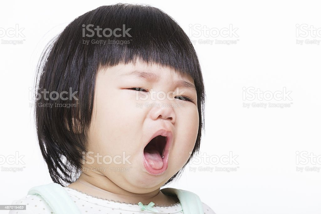 Asia baby girl cough stock photo