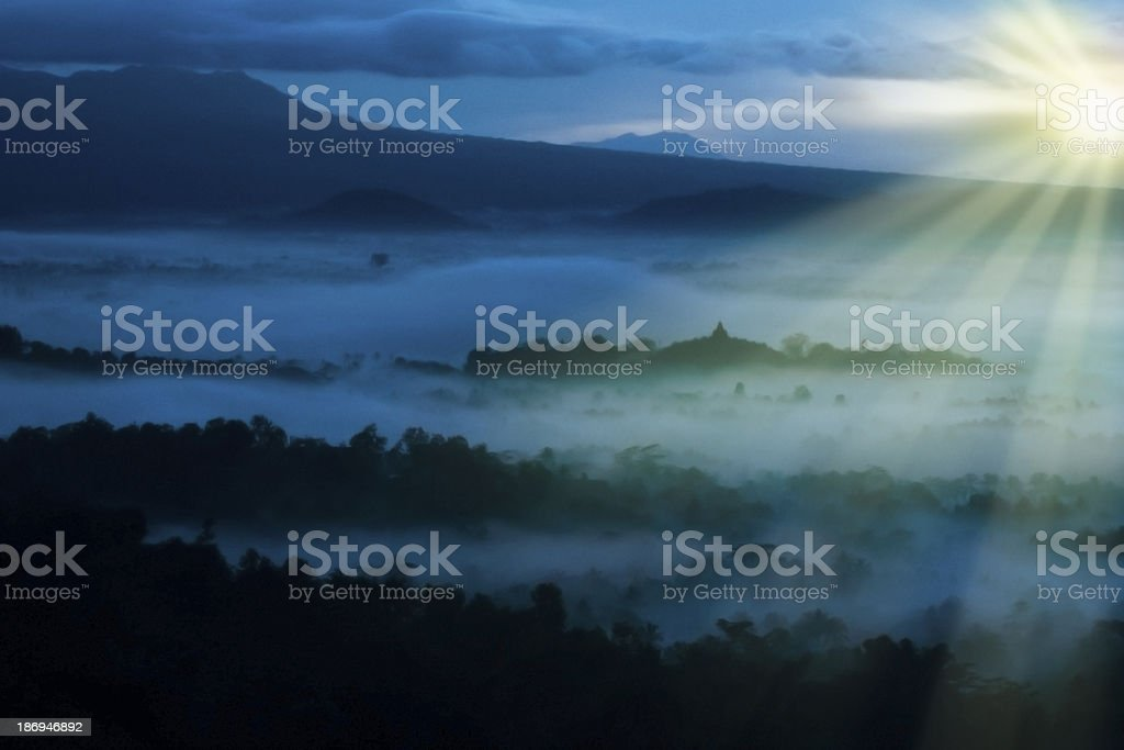 Asia beautiful sunrise landscape in Indonesia royalty-free stock photo
