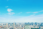 Asia Business concept for real estate and corporate construction - panoramic modern cityscape building bird eye aerial view under sunrise and morning blue bright sky in Tokyo, Japan