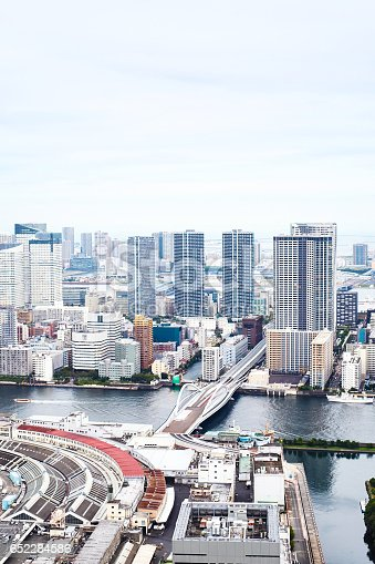 istock Asia Business concept for real estate - panoramic modern cityscape building bird eye aerial view of Odaiba bay and rainbow bridge under sunrise and morning blue bright sky in Tokyo, Japan 652284586
