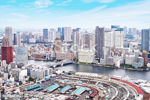 istock Asia Business concept for real estate - panoramic modern cityscape building bird eye aerial view of Odaiba bay and rainbow bridge under sunrise and morning blue bright sky in Tokyo, Japan 652284716