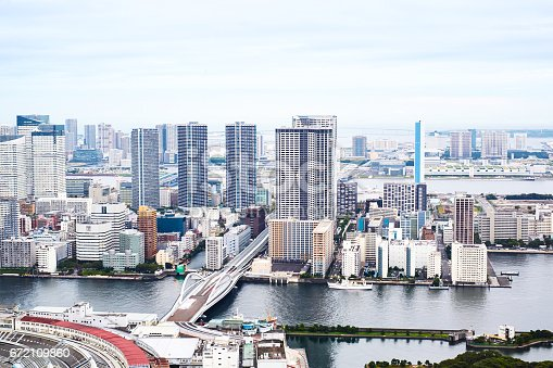 istock Asia Business concept for real estate - panoramic modern cityscape building bird eye aerial view of Odaiba bay and rainbow bridge under sunrise and morning blue bright sky in Tokyo, Japan 672109860