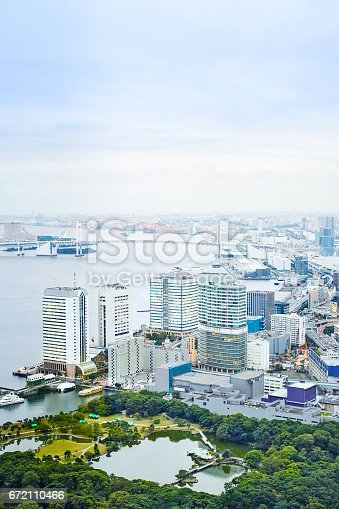 istock Asia Business concept for real estate - panoramic modern cityscape building bird eye aerial view of Odaiba bay and rainbow bridge under sunrise and morning blue bright sky in Tokyo, Japan 672110466