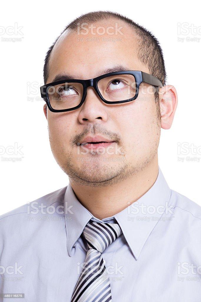 Asia businessman speechless stock photo