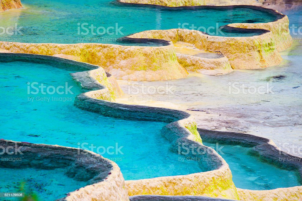 Asia, China, Sichuan, Huanglong, View of hot spring stock photo