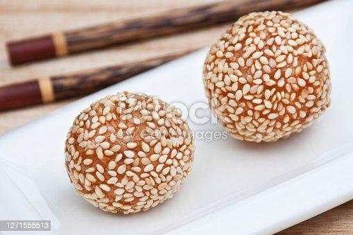 istock Asia food sesame ball close up 1271555513