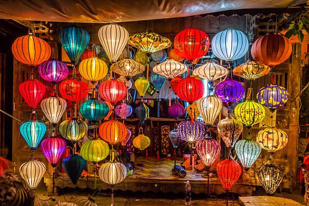 아시아 등불 in 호이안 city, vietnam - 호이안 뉴스 사진 이미지