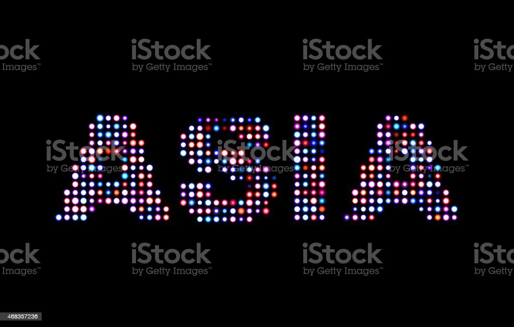Asia led text royalty-free stock photo