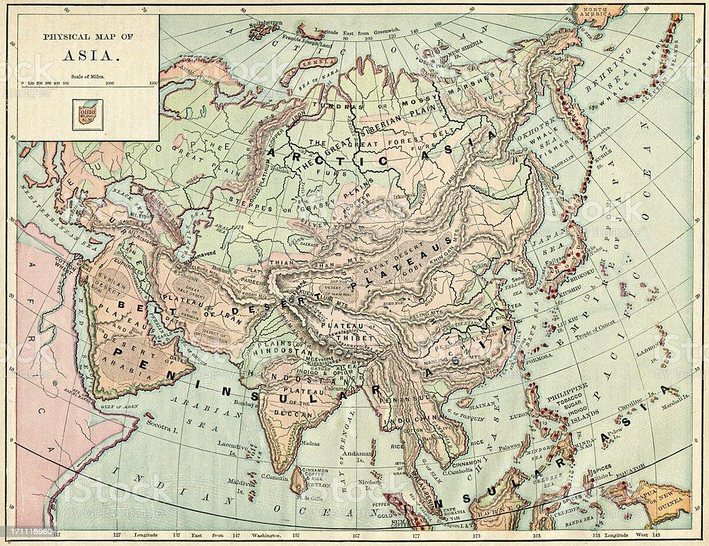 Asia Map 1884 XXXL stock photo