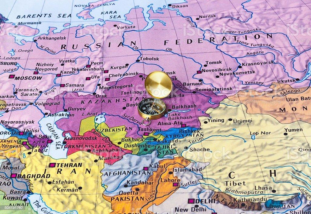 Ásia mapa e uma bússola - foto de acervo