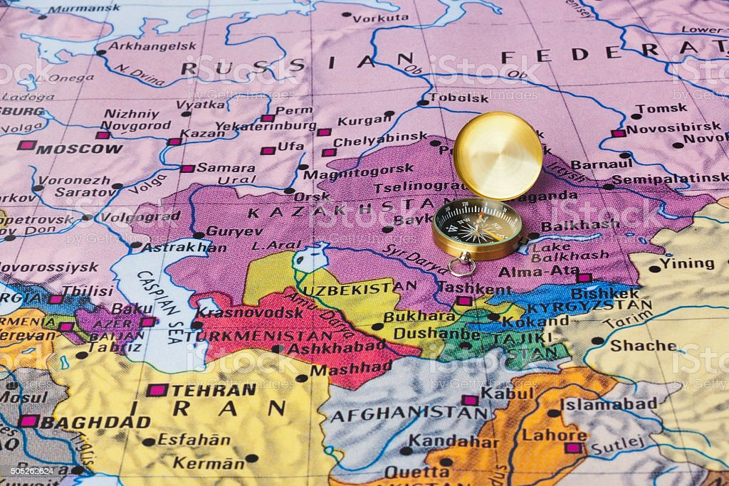 Asia map and compass stock photo