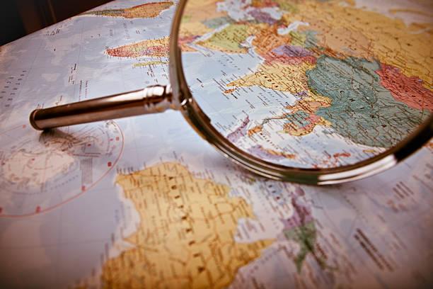 Asia Map, selective focus stock photo