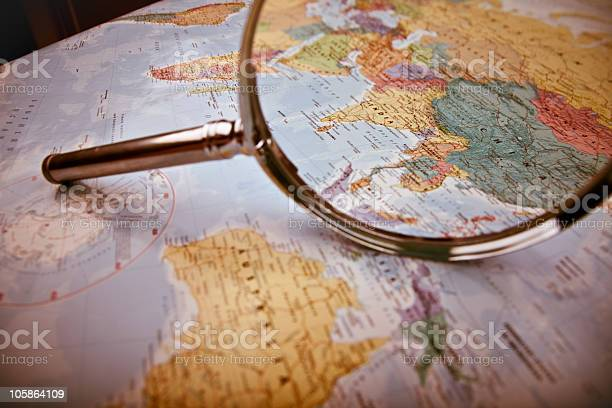 Asia Map Selective Focus Stock Photo - Download Image Now