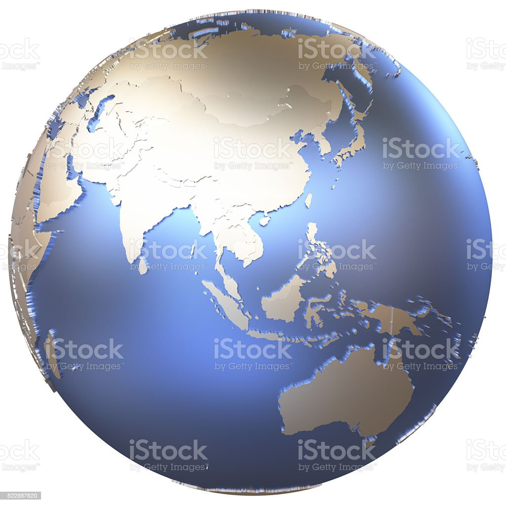 Asia on metallic Earth stock photo