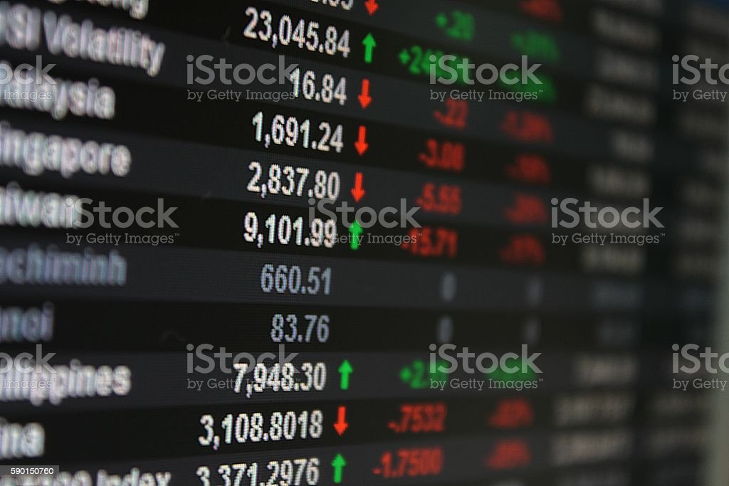 Asia Pacific Stock Exchange on board, display or monitor stock photo