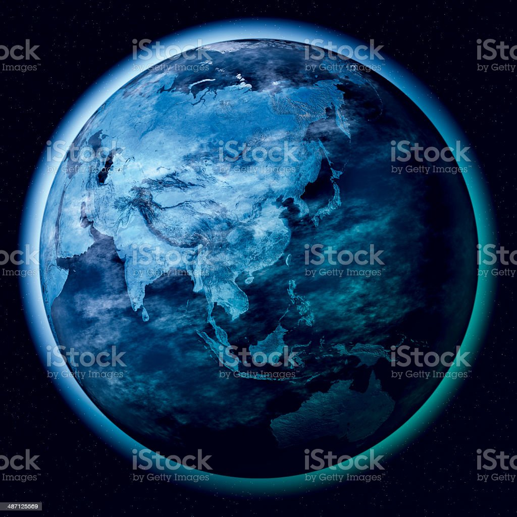 Asia Planet Earth Atmosphere Space stock photo