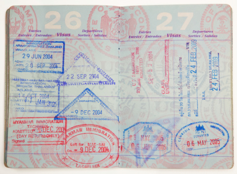 American/USA Passport With Visa Entry Stamps From Around The Southeast Asia Region. More Like This: