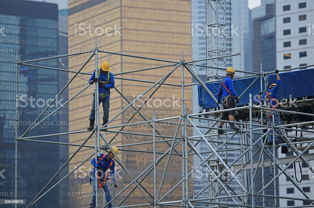 Asia scaffolding in city stock photo