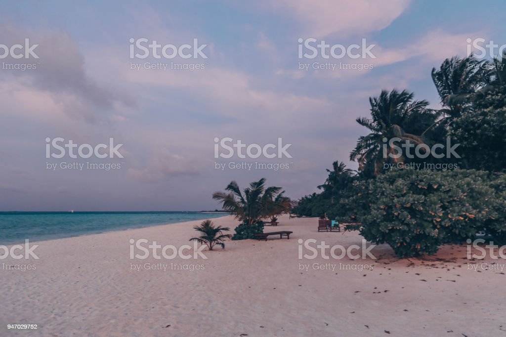 Asia travel series. Beautiful landscape of Maldive islands stock photo