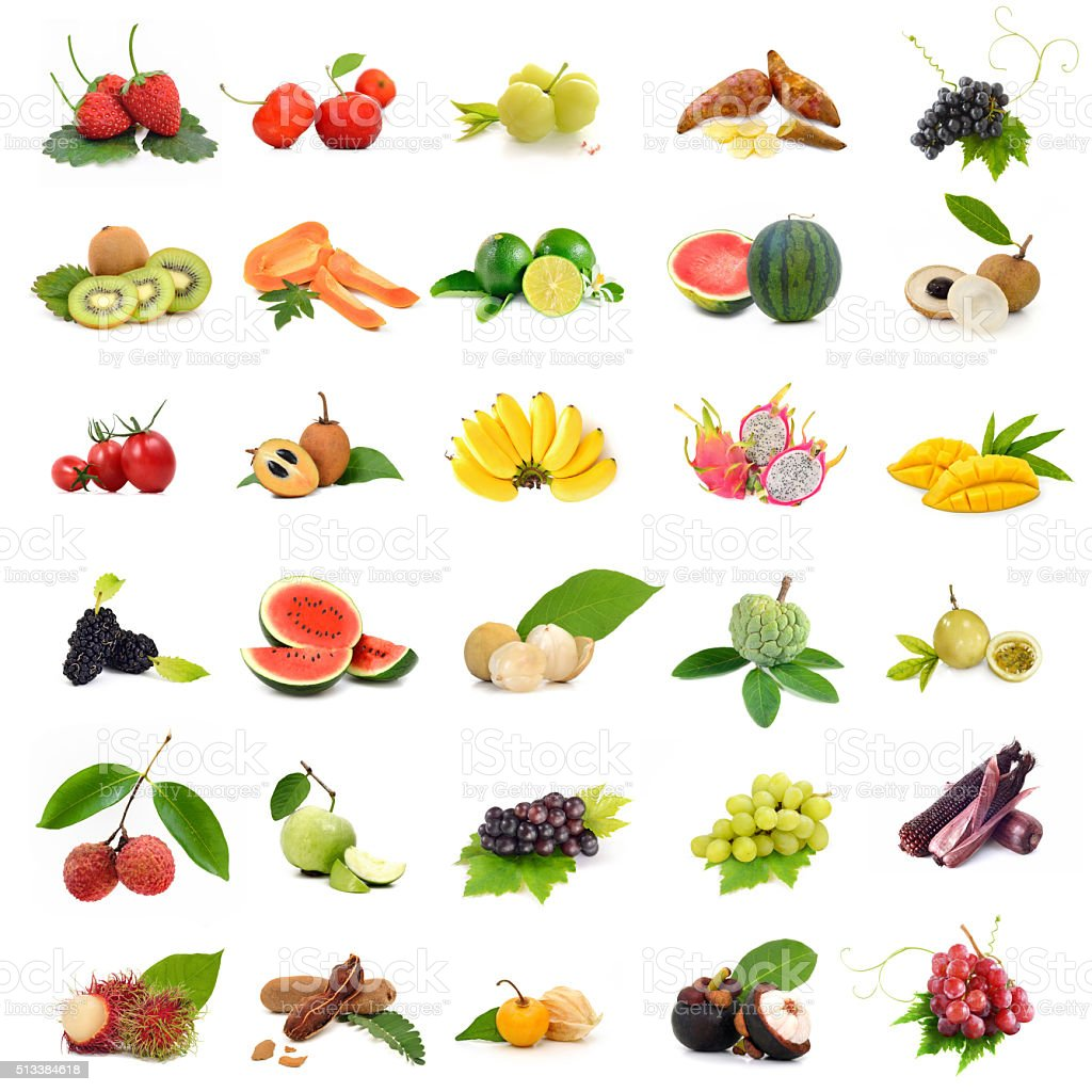 Asia tropical fruits ,Collection fruit set on white background stock photo