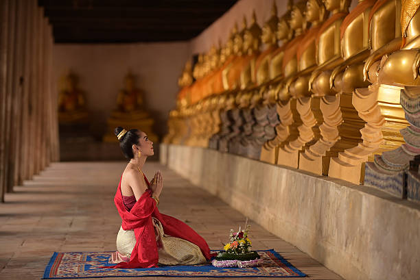 asia woman in thai dress traditional - kratong stock photos and pictures
