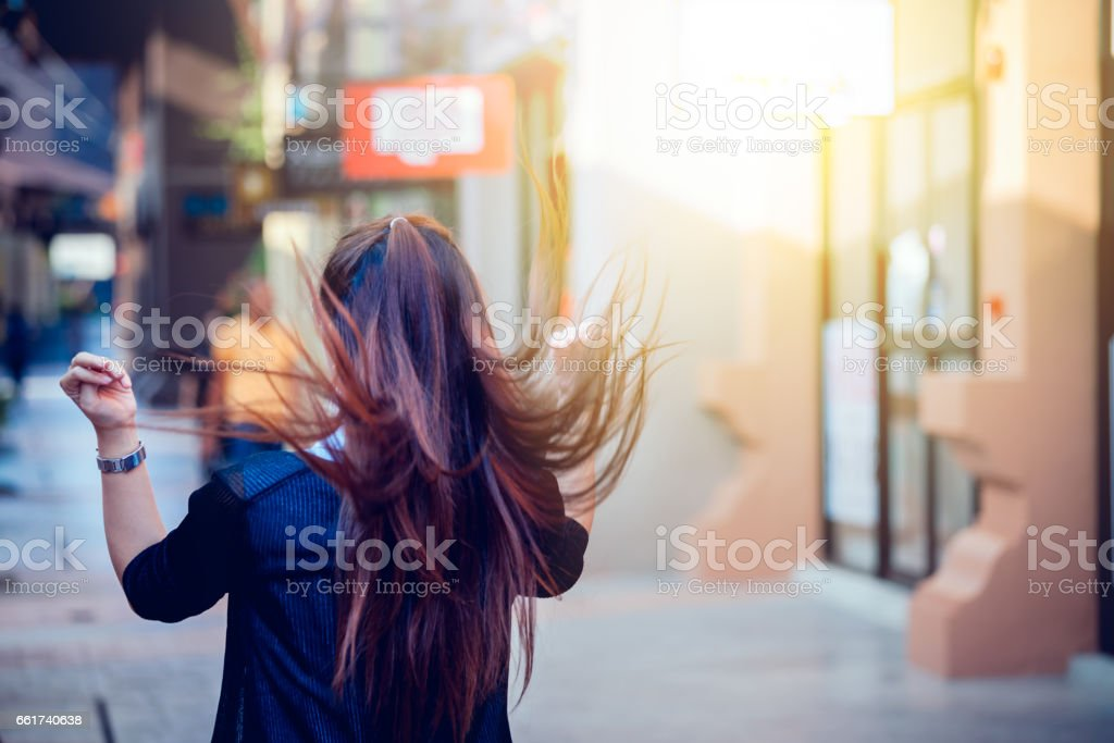 Asia women in free day relax at city stock photo
