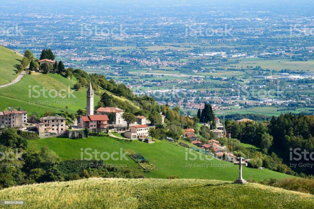 Asiago plateau with plain Padana view - foto stock