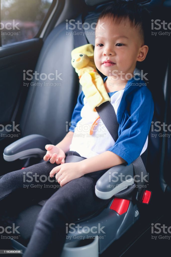 Asian 3 4 Years Old Toddler Boy Child Sitting In Booster Car Seat