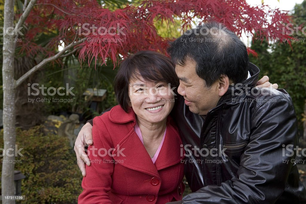 Asian Adult Couple Embracing Outdoors, Copy Space royalty-free stock photo