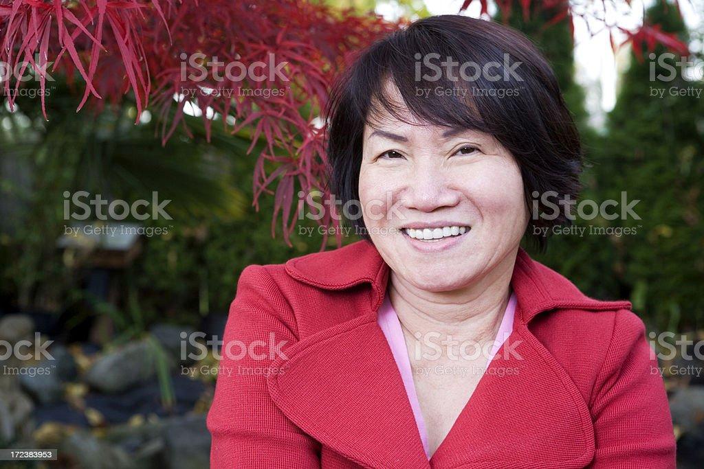 Asian Adult Woman Portrait Outside, Copy Space stock photo