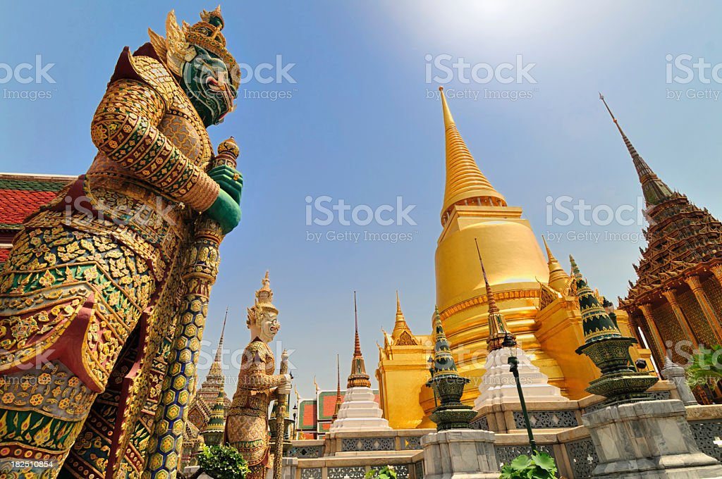 Asian architecture pointing towards the sky stock photo