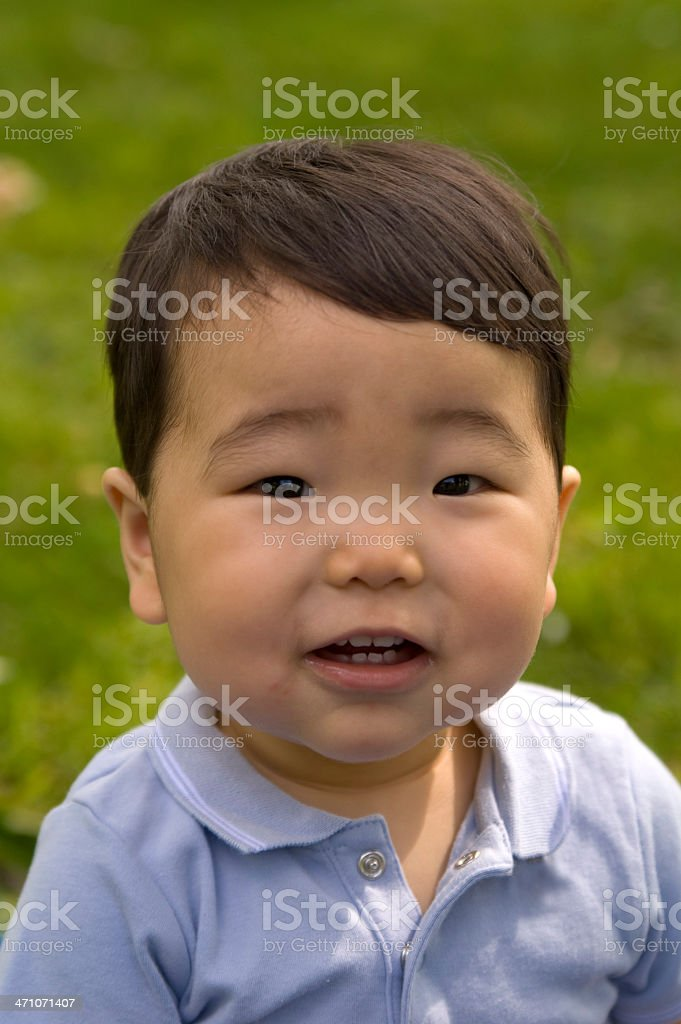 Asian Baby at Park, Korean Child Happy Outdoors royalty-free stock photo