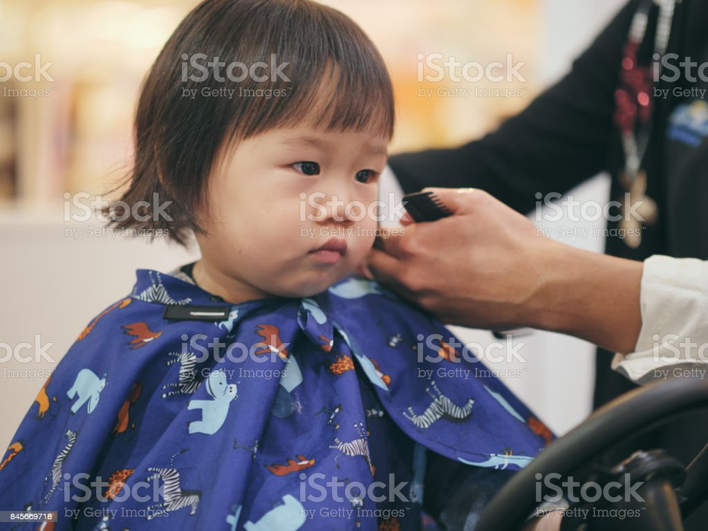 Asian Baby Girl Do Hair Cut First Time Stock Photo More Pictures