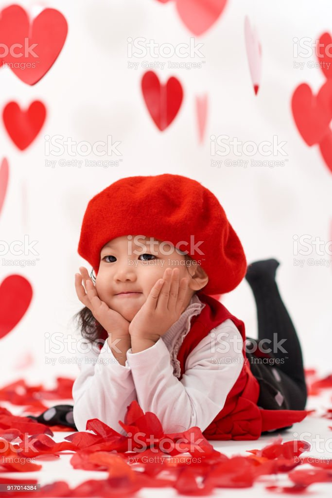 Asian Baby Girl Happy Valentines Day Stock Photo More Pictures Of