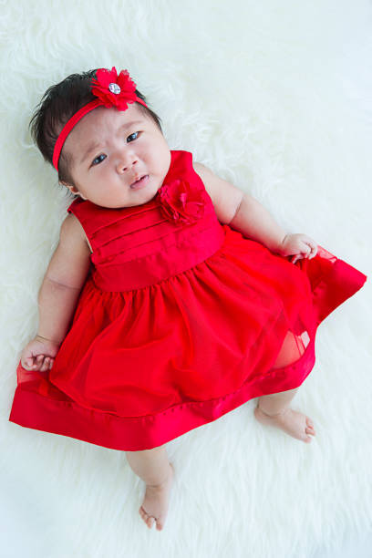 b7b7b5cb1 Top Cute Baby Girl In A Red Dress Looking Up Stock Photos