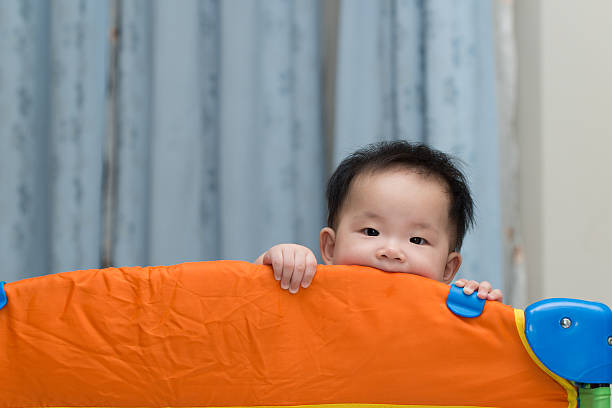 asian baby in playpen - playpen stock pictures, royalty-free photos & images